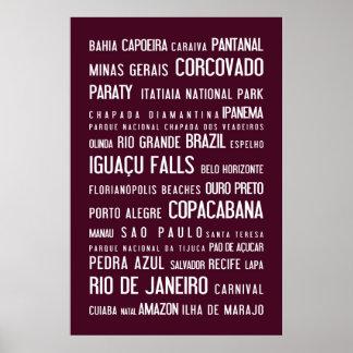 Brazil, aubergine poster