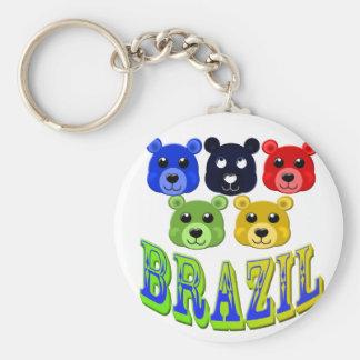 brazil bears basic round button key ring
