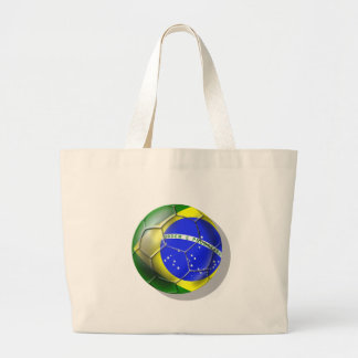 Brazil Brasil Samba football Brazilian flag ball Large Tote Bag