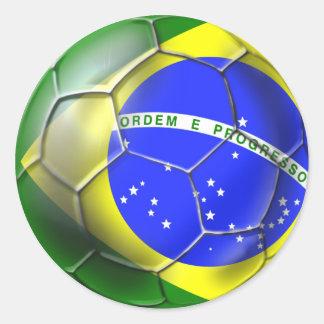 Brazil Brasil Samba football Brazilian flag ball Round Sticker