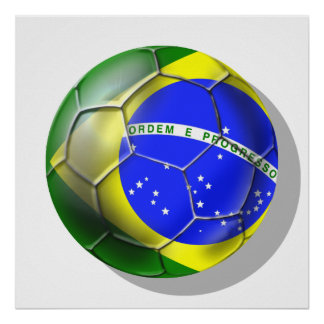 Brazil Brasil Samba football Brazilian flag sports Poster