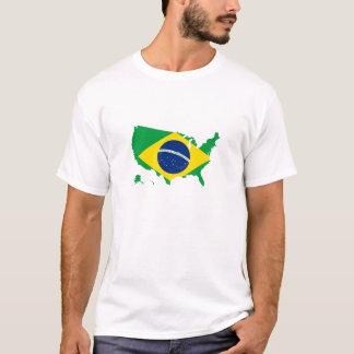 Brazil Brazilian flag in USA united states T-Shirt