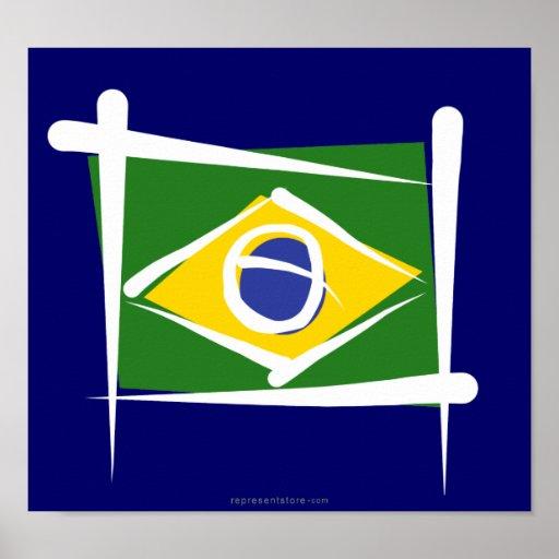 Brazil Brush Flag Poster