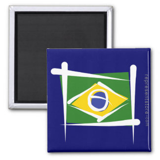Brazil Brush Flag Square Magnet