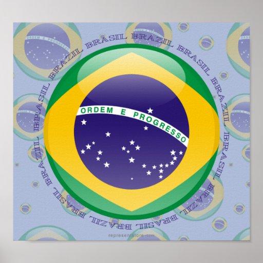 Brazil Bubble Flag Print