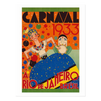 Brazil Carnival 1933 Vintage World Travel Poster Postcard