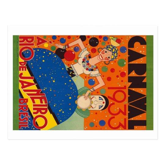 Brazil Carnival 1933 Vintage World Travel Poster Postcard