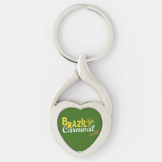 Brazil Carnival ooah! Love Keychain Silver-Colored Twisted Heart Key Ring