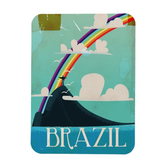 brazil christ the redeemer vintage travel poster magnet