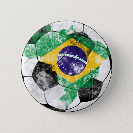Brazil Distressed Soccer 6 Cm Round Badge