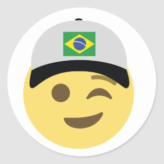 Brazil Emoji Baseball Hat Classic Round Sticker