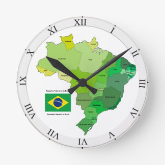Brazil Flag and Political Map Round Clock
