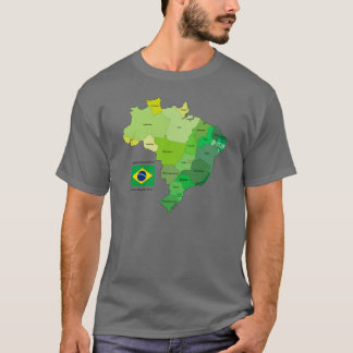 Brazil Flag and Political Map T-Shirt