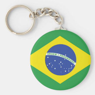 Brazil Flag Basic Round Button Key Ring