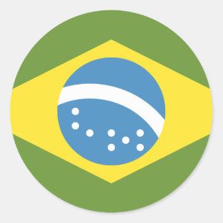 Brazil Flag Classic Round Sticker