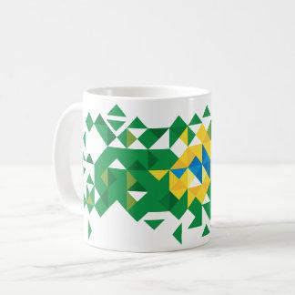 Brazil Flag Colors, Poly Art Coffee Mug