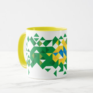 Brazil Flag Colors, Poly Art Mug