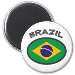 Brazil Flag - Cool Design! 6 Cm Round Magnet