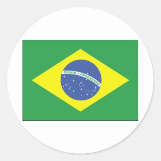 Brazil Flag Design Round Sticker