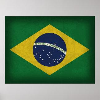 Brazil Flag Distressed Poster