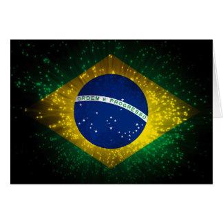 Brazil Flag Firework Note Card