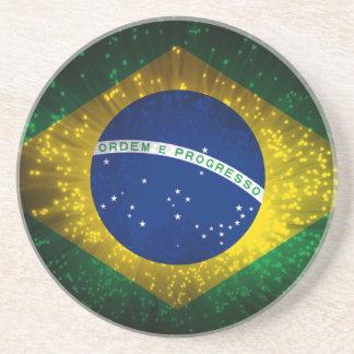 Brazil Flag Firework Coaster