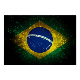 Brazil Flag Firework Poster