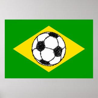 Brazil Flag | Football Sketch Poster