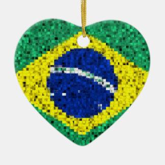 Brazil Flag glitter ornament