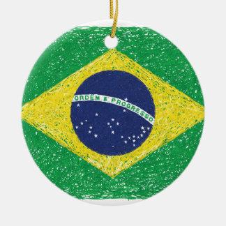 Brazil Flag *Hand-sketch* Brazilian Christmas Ornament