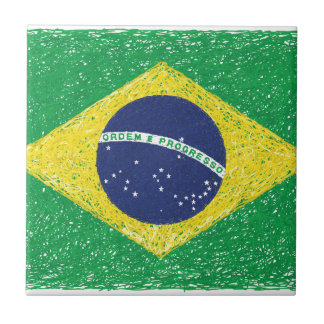 Brazil Flag *Hand-sketch* Brazilian Tile