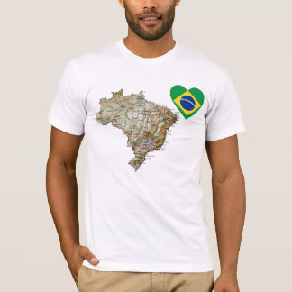 Brazil Flag Heart and Map T-Shirt