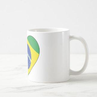 Brazil Flag Heart Coffee Mug