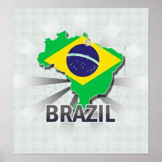 Brazil Flag Map 2.0 Print