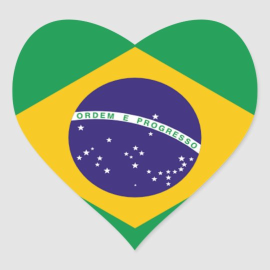 Brazil: Flag of Brazil Heart Sticker