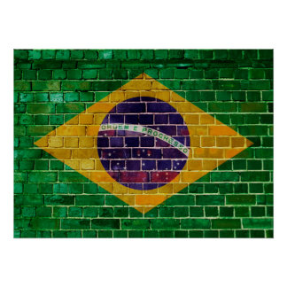 Brazil flag on a brick wall poster