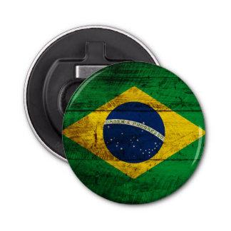 Brazil Flag on Old Wood Grain Bottle Opener