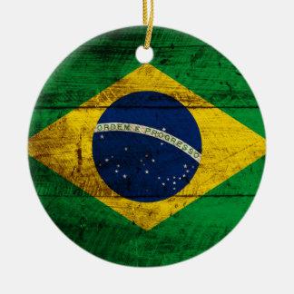 Brazil Flag on Old Wood Grain Christmas Ornament