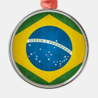 Brazil Flag Silver-Colored Round Decoration