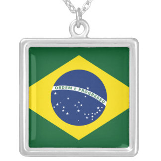 Brazil flag silver plated necklace