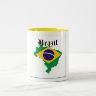BRAZIL FLAG  T-SHIRT AND ETC Two-Tone COFFEE MUG