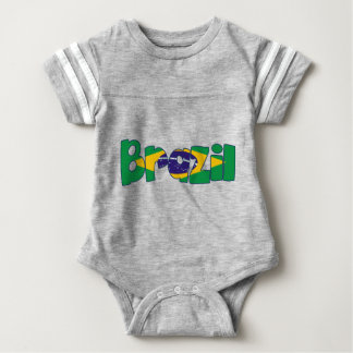 brazil flag text baby bodysuit