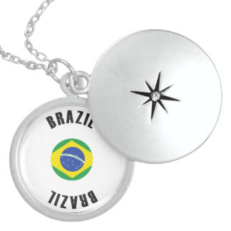 Brazil Flag Wheel Locket Necklace