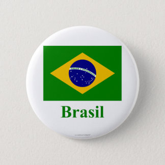 Brazil Flag with Name in Portuguese 6 Cm Round Badge