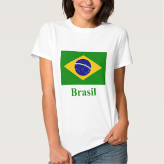Brazil Flag with Name in Portuguese T Shirts