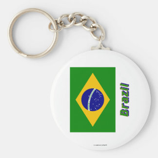 Brazil Flag with Name Key Ring