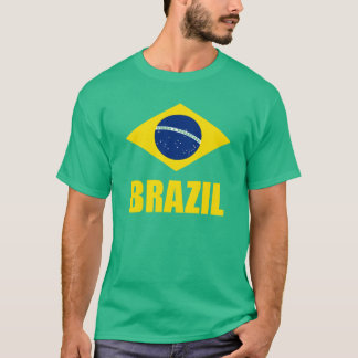 Brazil Flag Yellow Text Green T-Shirt
