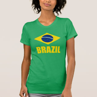 Brazil Flag Yellow Text Green T Shirts