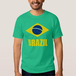 Brazil Flag Yellow Text Green Tees