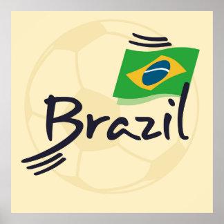 Brazil football illustration poster